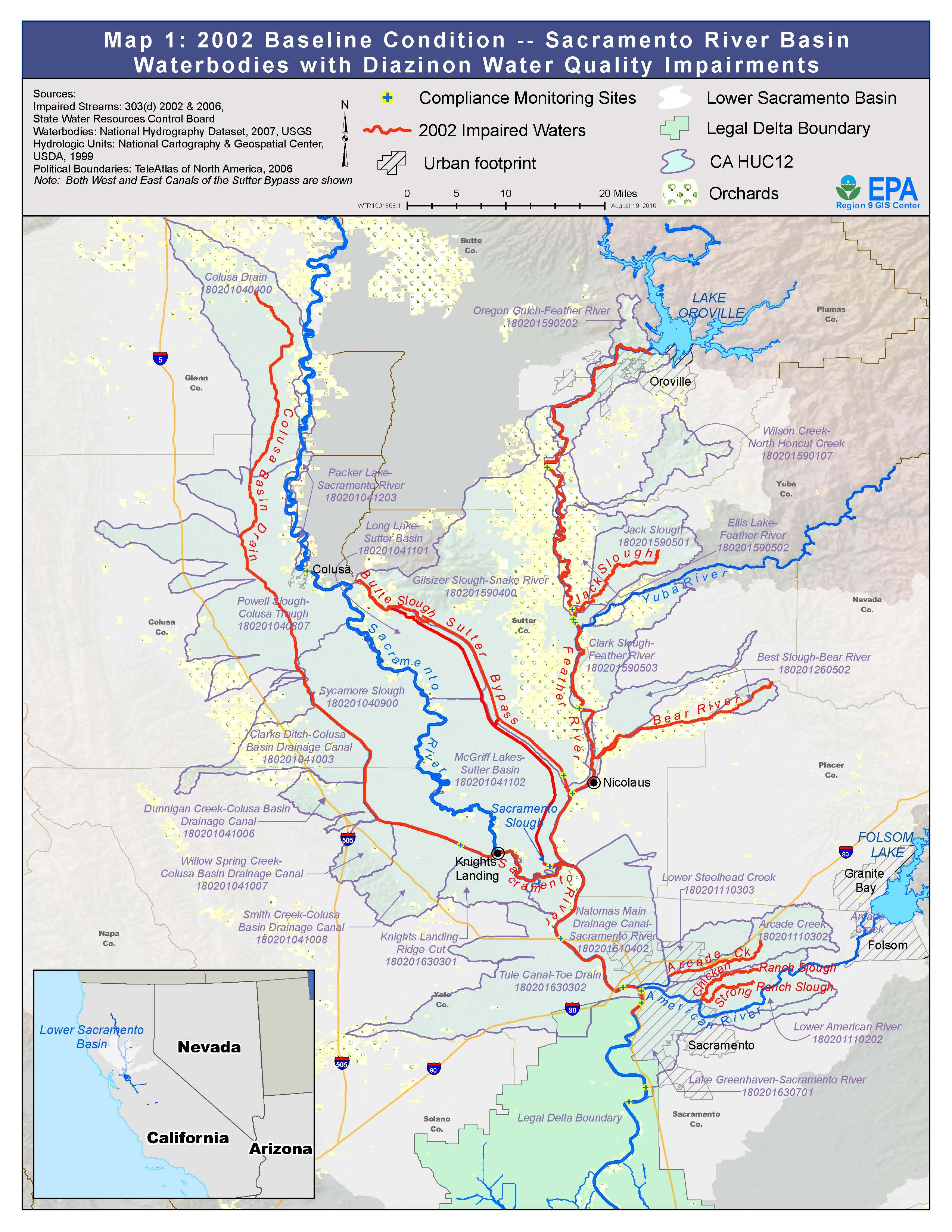 map 1 baseline condition sacramento river basin waterbodies with diazinon water quality impairments
