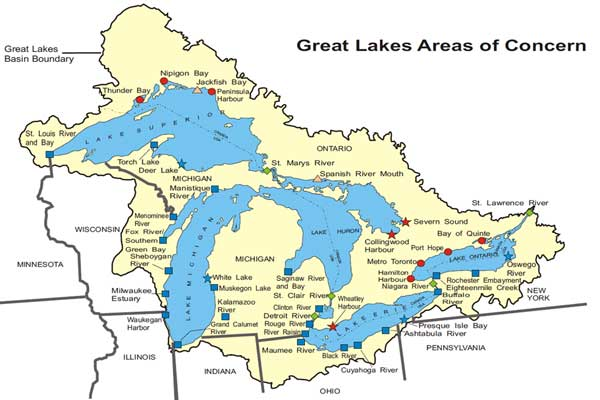 Great Lakes AOCs Status Map Great Lakes Areas Of Concern US EPA - Map of all us rivers