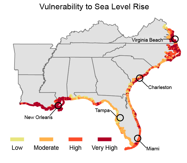 map shows all southeastern coastal areas have moderate vulnerability to sea level rise mississippi