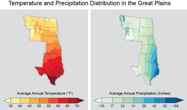 map of the great plains states and the temperature and precipitation gradients across the region