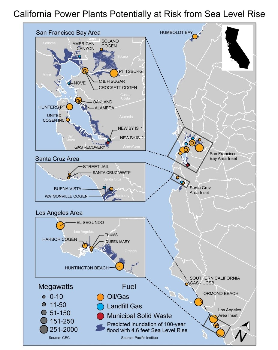 Climate Impacts On Energy Change Us Epa Hydroelectric Power Plant Schematic Diagram Map Of The California Coast Showing Plants That Are At Risk Damage From Sea