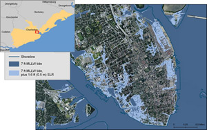 Map That Shows Charleston And The Potential Impact Of A Seven Foot Tide Combined With 1 6