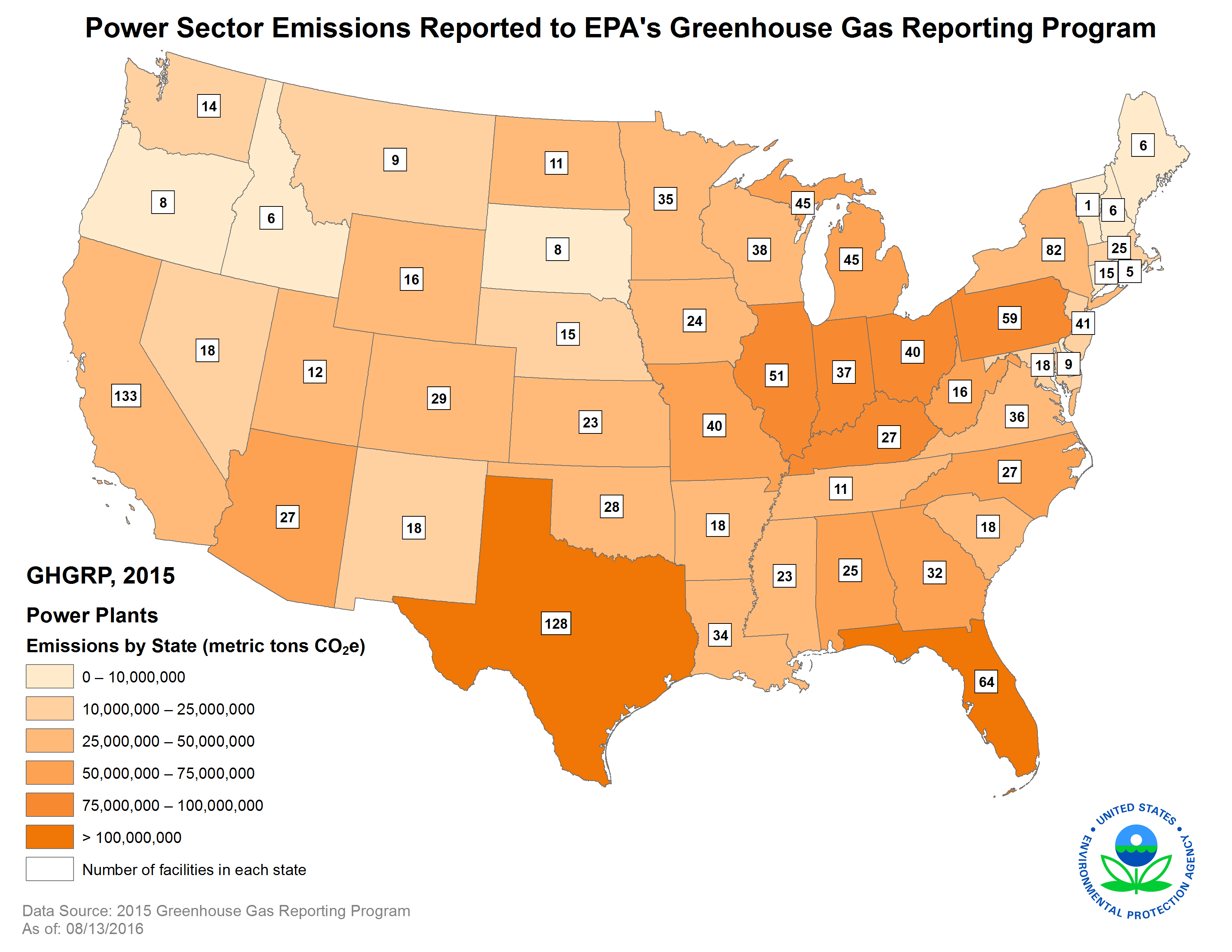 Key Facts And Figures Greenhouse Gas Reporting Program GHGRP - Map of us power plants