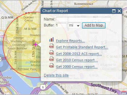 Screenshot of Chart or Report optison with buffer drawn on map