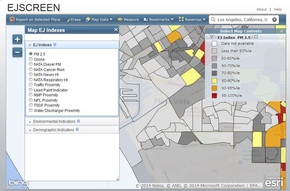 Screen shot of color coded EJSCREEN map with EJ Index PM2.5