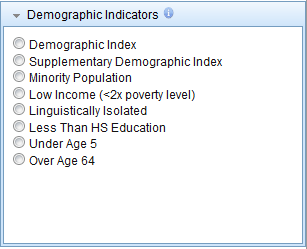 Demographic Index, Supplementary Demogrpahic Index, Minority Population, Low Income (<2x poverty level), Linguistically Isolated, Less Than HS Education, Under Age 5, Over Age 64