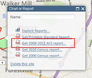 Screenshot of Chart or Report 'Get 2008-2012 ACS Report' option location