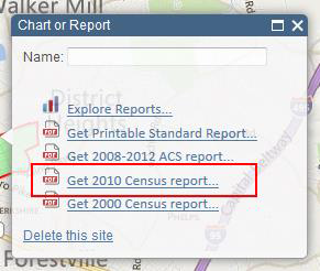 Screenshot of Chart or Report 'Get 2010 Census Report' option location