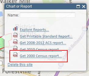Screenshot of Chart or Report 'Get 2000 Census Report' option location