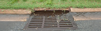 Stormwater runoff entering a storm drain