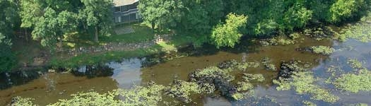 aerial view of oil spill in Kalamazoo river in August 2010