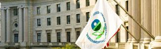 The EPA flag flying in front of the Ariel Rios Building in Washington, D.C..