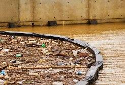 Boom captures litter and other debris carried by stormwater