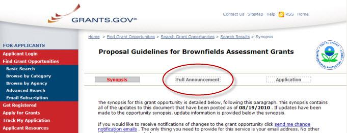 Screen shot of grants.gov with Full Grants encircled