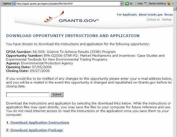 Screen shot from grants.gov: Download Opportunities Instructions Application