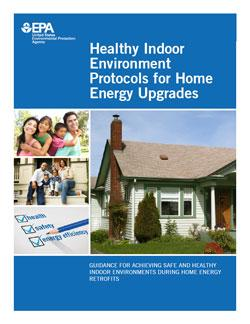 A picture of a home on the cover of the Healthy Indoor Environment Protocols for Home Energy Upgrades PDF