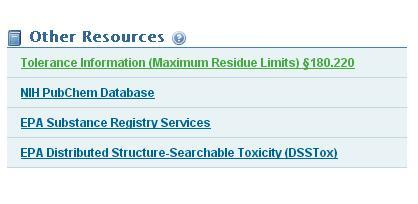 The Other Resources area on the chemical search information page lists options including tolerance information and access to resources such as NIH PubChem Database.