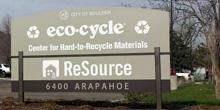 Sign at ecoCycle entrance