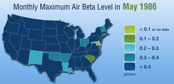Monthly maximum Air Beta level in May 1986.
