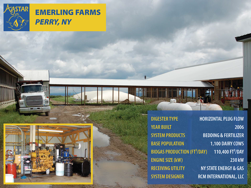 Emerling Farms, Perry, NY: horizontal plug flow digester; built in 2006; products are bedding and fertilizer; base pop. is 1,100 dairy cows; biogas production is 110,400 ft3/day; 230 kW engine; utility is NY State Energy and Gas; designer is RCM Int.