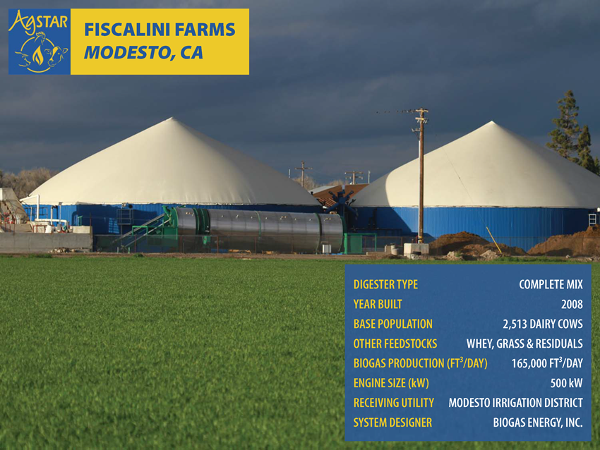 Fiscalini Farms, Modesto, CA: complete mix digester; built in 2008; base pop. is 2,513 dairy cows; feedstocks incl. whey, grass and residuals; biogas prod. is 165,000 ft3/day; 50 kW engine; utility is Modesto Irrigation Dist.; design. Biogas Energy