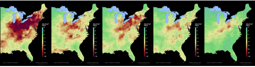 Image of maps showing acid rain reduction in the Eastern United States