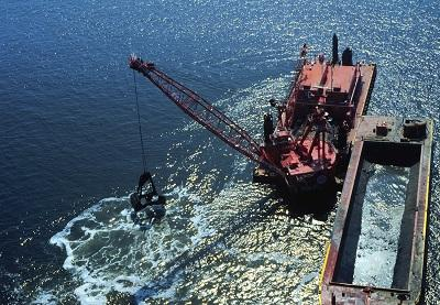 Dredge working in Mobile Bay Ship Channel, Alabama