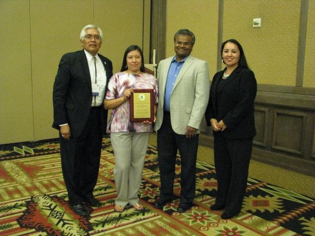 Ron Solimon, member of Laguna Pueblo; Amy Garcia, 2013 Excellence in Community Involvement Award winner; Mathy Stanislaus, Assistant Administrator, Office of Solid Waste and Emergency Response; and Anne Marie Chischilly, Executive Director, Institute for