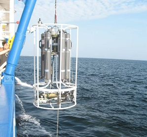 A CTD (Conductivity, Temperature, Depth) instrument use to assess properties of sea water.