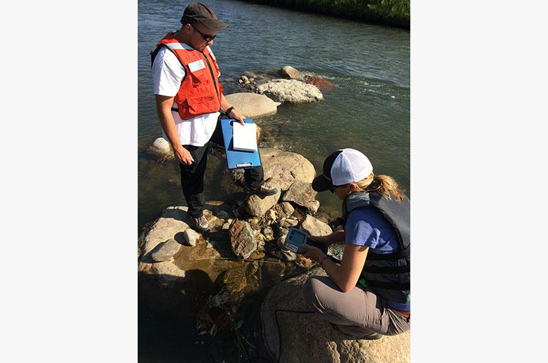 Sampling photo: EPA team monitor water in the Animas River to assure water quality is remaining at pre-event levels.