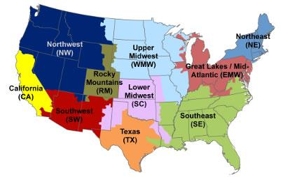 This Map Of The Contiguous 48 States Depicts How The States Are Split Into 10 Avert