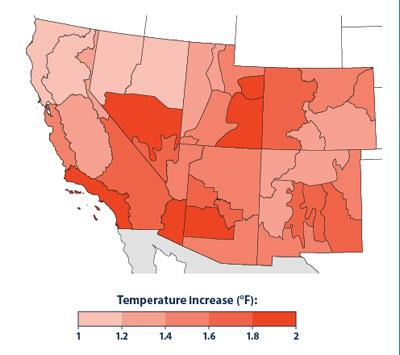 Average temperatures across the entire Southwest have increased in recent years, up to 2°F in some areas. This map shows the average temperature from 2000-2013 relative to the long-term average from 1895-2013. All areas on have increased 1 to 2 °F.