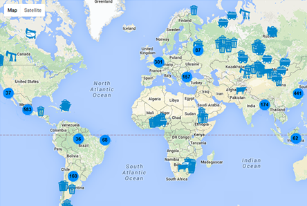 Global map showing methane sites