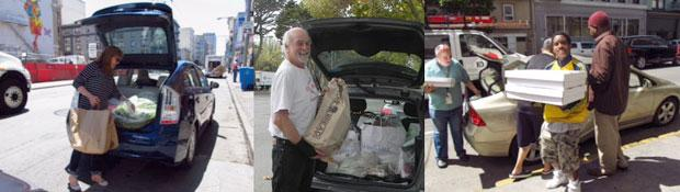 'Food Runners' transporting donated food by car in San Francisco