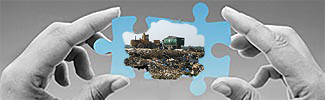 Image of a landfill in a puzzle-piece