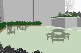 recreational picnic area concept with green infrastructure
