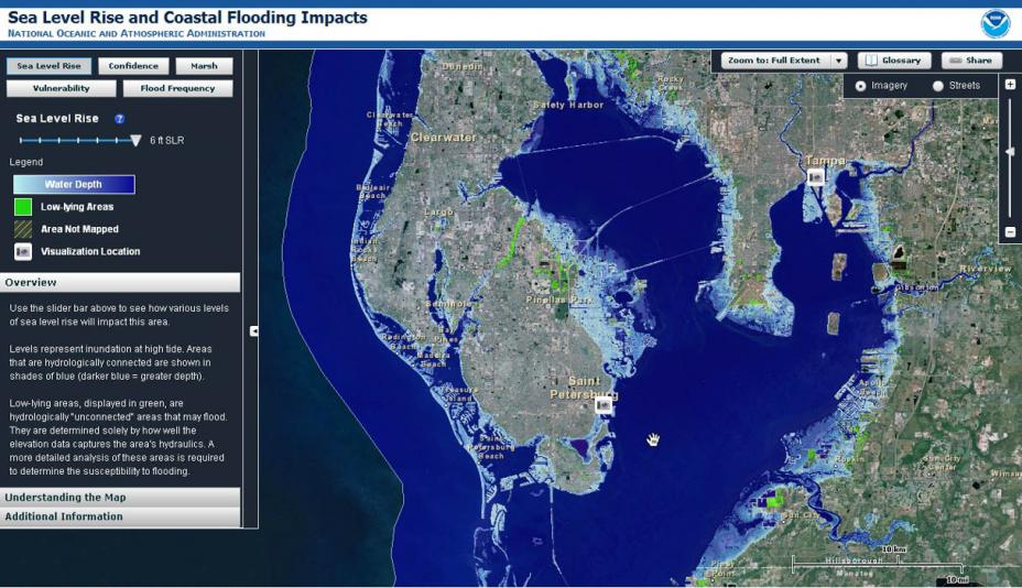 screens of the noaa sea level rise and coastal flooding impacts tool the sample map