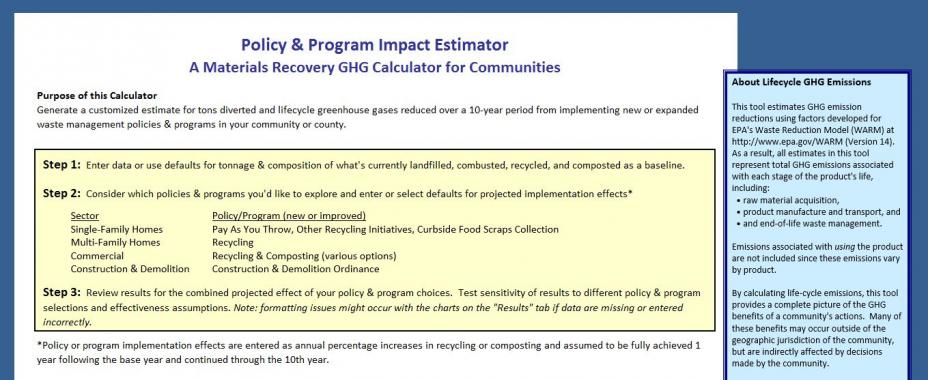 This is a screenshot of the first sheet of the policy and program impact estimator