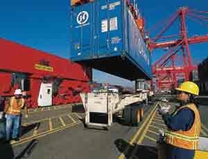 Port terminal operations - loading/unloading a container
