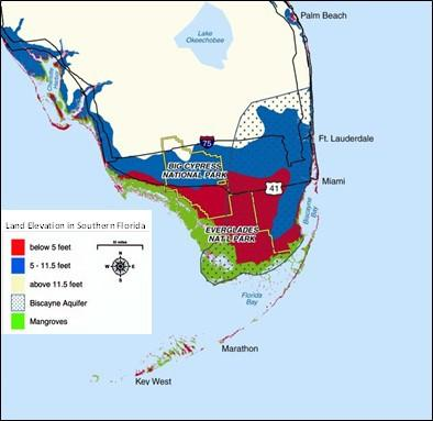 A Graphic Showing The Biscayne Aquifer And Surrounding Land In Sourthern Florida