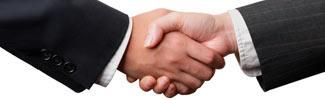 Handshake between 2 hands