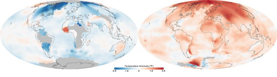 Temperatures across the world in the 1880s (left) and the 1980s (right).