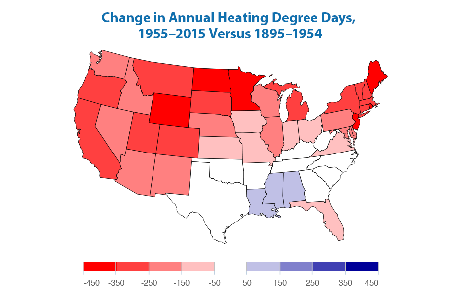 Map showing how the average number of heating degree days per year has changed in each of the contiguous 48 states over time. The map was created by comparing two time periods: 1895–1954 and 1955–2015.