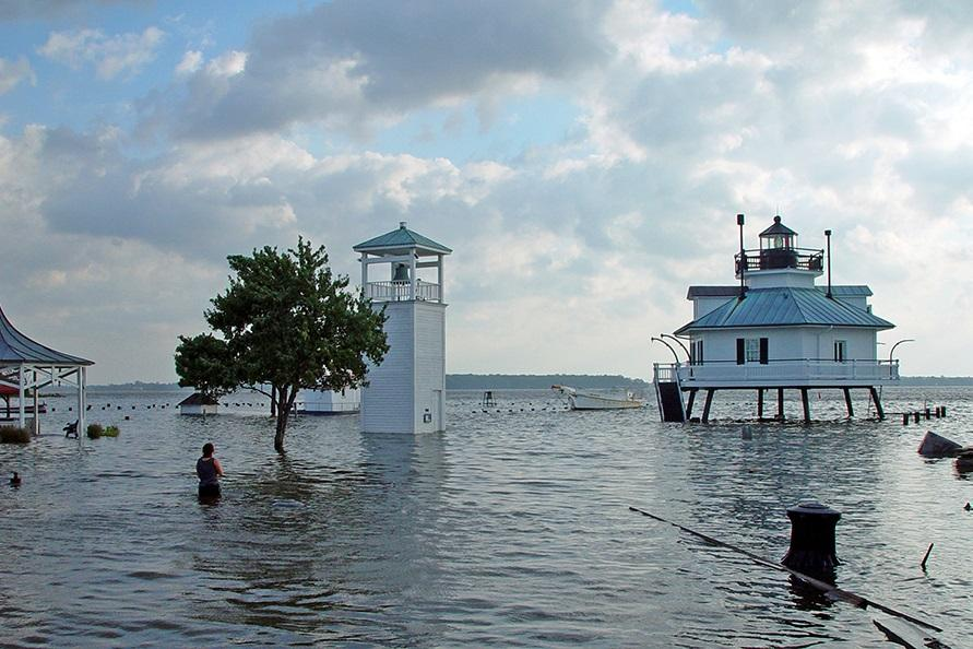 """Photo of flooded coastline"