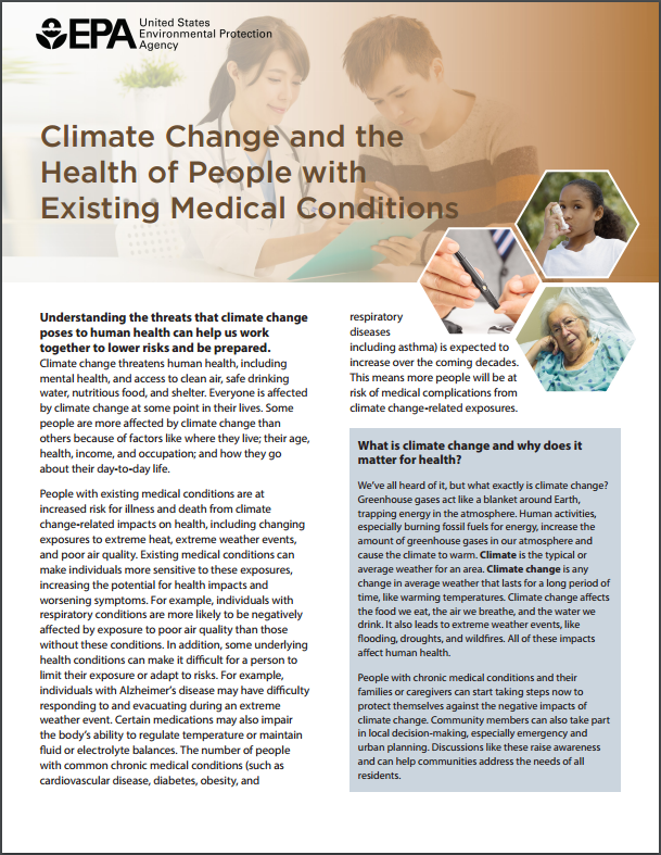 Image of the first page of the 'Climate Change, Health, and Existing Conditions' fact sheet.
