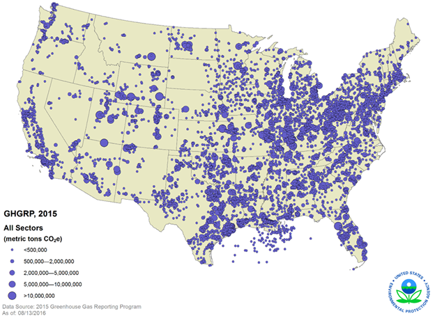 GHGRP 2015 Reported Data map