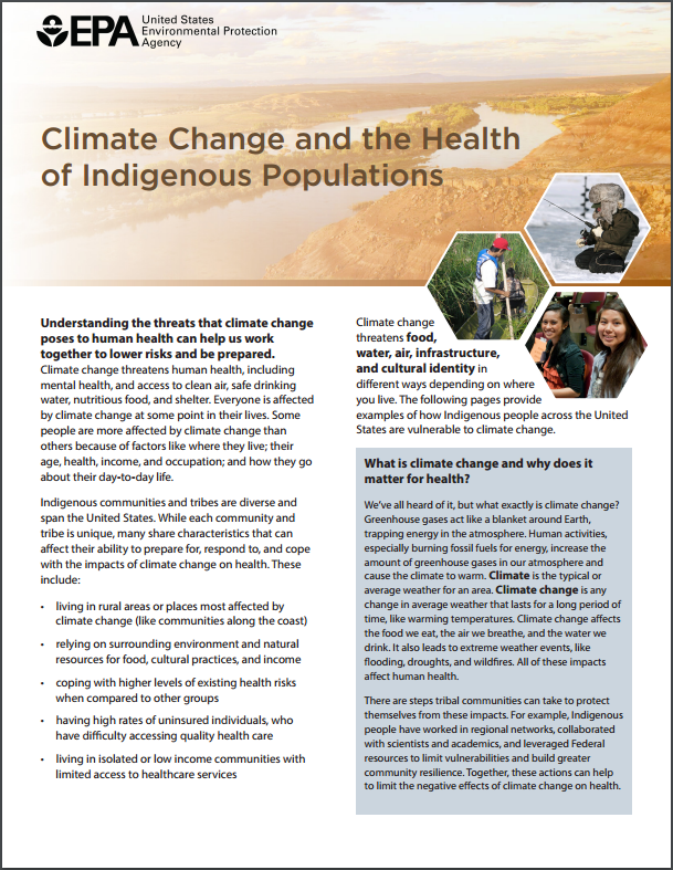 Image of the first page of the 'Climate Change, Health, and Indigenous Populations' fact sheet.