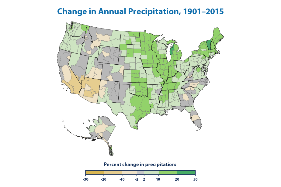 Change in Annual Precipitation, 1901-2015