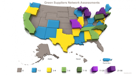 Map of US showing states with facilities with GSN assessments.