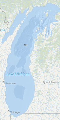 map of Lake Michigan
